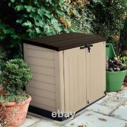 Outdoor Resin Storage Shed Horizontal All-weather Plastic Patio Container, Keter
