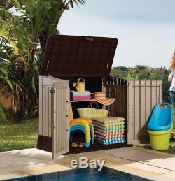 Outdoor Storage Cabinet Garden Shed Pool Trash Cans Yard Utility Garage Patio