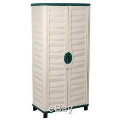 Outdoor Storage Cabinet Garden Utility Plastic Horizontal Shed Garage Lockable