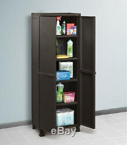 Outdoor Storage Cabinet Plastic Garden Shed Lockable Adjustable Garage Locker