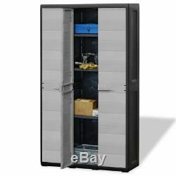 Outdoor Storage Cabinet Plastic Horizontal Shed Garage Shelves Garden Lockable