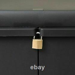 Outdoor Storage Lockable Cabinet Plastic Horizontal Garden Shed Garage Shelves