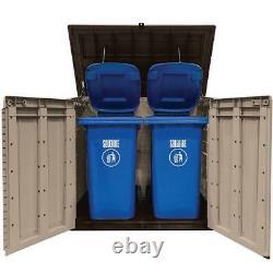 Outdoor Storage Shed 42-Cu Ft Horizontal Rustproof Piston Lid Garbage Trash