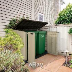Outdoor Storage Shed 42-Cu Ft Horizontal Rustproof Piston Lid Garbage Trash Box