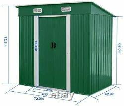 Outdoor Storage Shed 4 x 6 Ft Lockable Organizer Garden Backyard Tools Green