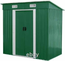 Outdoor Storage Shed 4 x 6 Ft Lockable Organizer for Garden Backyard Tools Green