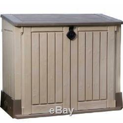 Outdoor Storage Shed Deck Box 30 Cu Ft Resin Waterproof Weatherproof Beige/Brown