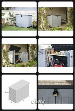 Outdoor Storage Shed Horizontal Plastic 5 W x 3 D Gardening Tools Trash Bins NEW