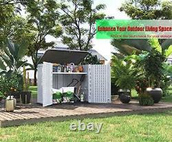 Outdoor Storage Shed Multi-Function, Lockable Horizontal Storage Unit Weat