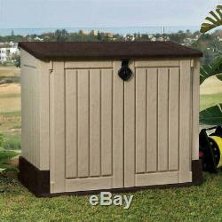 Outdoor Storage Shed Plastic Garden Cabinet All Weather Utility Box Pool Lawn