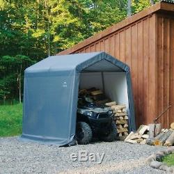 Peak Style Storage Shed, 8 x 8-Ft. Steel Frame Garden Outdoor Organizer, Gray