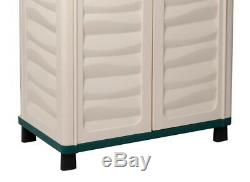 Plastic Storage Cabinet Utility Shed Garage Shelves with Lock Outdoor Garden Patio