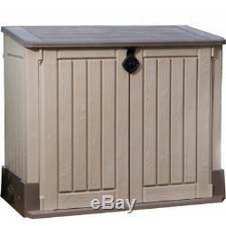 Pool Storage Shed Patio Garden Tool Organizer Deck Box Bin Trash Can Hideaway