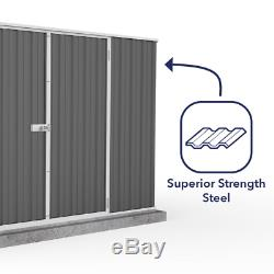 Premier 10 ft. X 7 ft. Woodland Durable Gray Metal Outdoor Storage Shed