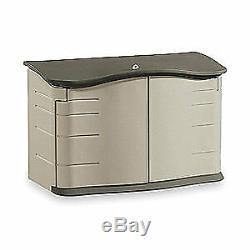 RUBBER Outdoor Storage Shed, Lg Horizontal, H 36, FG374801OLVSS, Olive/Sandstone