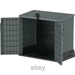 Resin Horizontal Storage Shed Polypropylene Rich Woodgrain Look Water Resistant