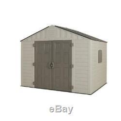Resin Storage Shed 540 cu. Ft. Lockable Door Vents Windows Plastic Gray