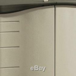 Rubbermaid 2X5 Ft Horizontal Storage Shed Split Lid Resin Deck Olive Sandstone