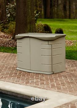 Rubbermaid 2' x 5' Horizontal Outdoor Resin Storage Shed with Split Lid, Olive &