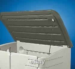 Rubbermaid Outdoor Split-Lid Storage Shed, 18 cu. Ft, Olive/Sandstone FG375