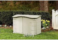 Rubbermaid Small Horizontal Resin Weather Resistant Outdoor Garden Storage Shed