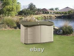 Rubbermaid Split-Lid Resin Weather Resisrant Outdoor Garden Storage Shed, Olive