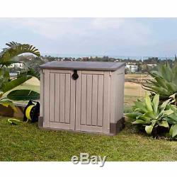 STORAGE BOX CONTAINER Outdoor Garage Resin Shed Patio Garden Tools Chest Plastic