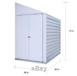 Steel Storage Shed 48 Wide x 84 Long x 72 Inches High 154 Cubic Feet For Outdoor