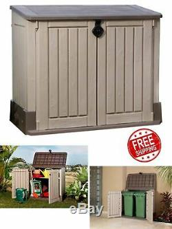 Storage Cabinet Outdoor Garden Shed Pool Trash Cans Yard Utility Garage Patio