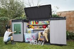 Storage Shed Deck Box Outdoor Waterproof Patio Large Plastic Container Keter New