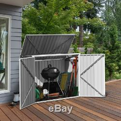 Storage Shed Horizontal Galvanized Steel 68 Cubic Feet Fit 2 Large Garbage Can