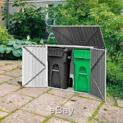 Storage Shed Outdoor Tool House Black Garden Storage 3 Doors Garbage Building 6