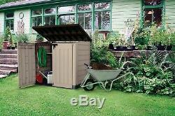 Storage Shed Resin Plastic Horizontal Beige Brown 42 Cu. Ft. Outdoor Garden Yard