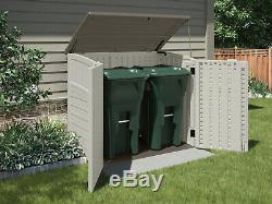 Suncast Horizontal Outdoor Storage Shed, Vanilla And Stoney, 34 Cubic Feet