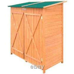 VidaXL Outdoor Wooden Storage Shed with Stool Backyard Garden Tool Organizer