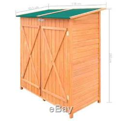 VidaXL Outdoor Wooden Storage Shed with Stool Backyard Garden Tool Organizer