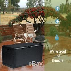 Waterproof Lockable Deck Box Storage Container Shed Bin Backyard Patio Outdoor