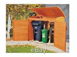 Wooden Garbage Can Holder Outdoor Storage Shed Bin Solid Wood Lock Door Hideaway