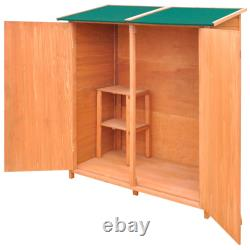 Wooden Utility Tool Shed Garden Storage House Backyard Outdoor Shed With Stool